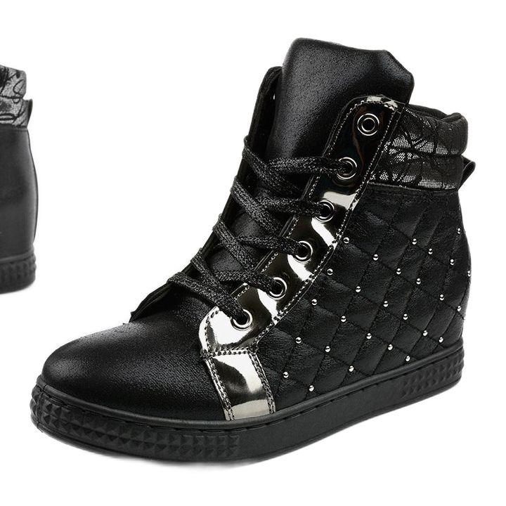 Czarne Sneakersy Na Koturnie R468 2 High Top Sneakers Shoes Sneakers