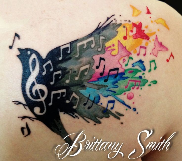 watercolor music tattoos | Music note bird watercolor. Skinny Boy Tattoo, Post Falls Idaho.