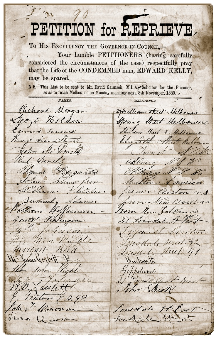 Circulated throughout Victoria and the Riverina district of New South Wales, petitioners for Ned's reprieve signed forms like this. When the petition was presented to Parliament, more than 32,000 men, women and children had signed. Another 28,000 signatures are said to have been collected by the day of Ned's execution. The Victorian Government attempted to discredit the sheer volume of signatures by labelling the participants as undesirables made up of ruffians and the dregs of society.