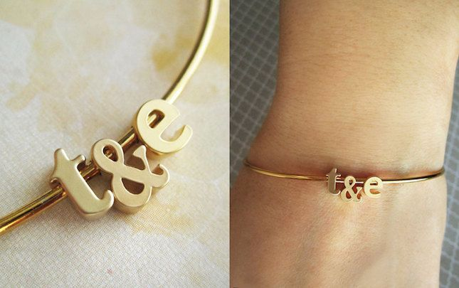 Gift an initial bangle to the bride-to-be.