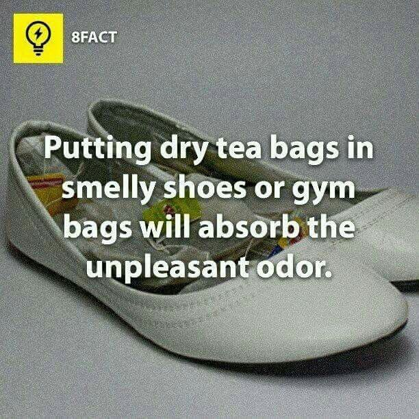 Tea bags in smelly shoes or bags/drawers