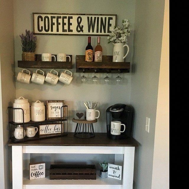 Wood Coffee And Wine Sign Coffee Bar Decor Gift For Coffee Etsy In 2020 Coffee Bar Home Diy Coffee Bar Coffee Bar Design