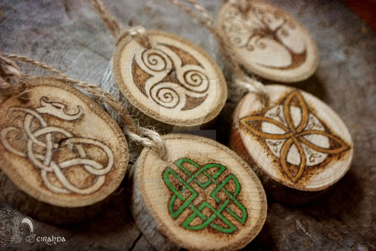 Celtic and Norse wooden pendants by LuthienSecrets