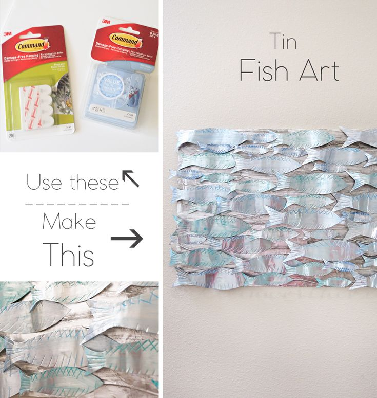 Tin Fish Art - This Tin Fish Art is a simple homemade art project you can do with the kids. If you love coastal decor & unique art adorning your walls, this is perfect. #ProjectAmazing #ad @walmart