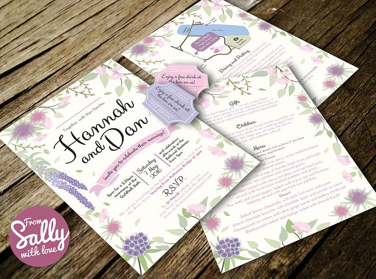 A pretty purple and pink floral themed bespoke A5 wedding invitation with map and drink reservation cards for Hannah and Dan who got married in Bath.  #romantic #pretty #purple #pink #banner #flowers #floral #bath #bespoke #personalised #love #engaged #wedding #invitation #leaves #green #designer #map