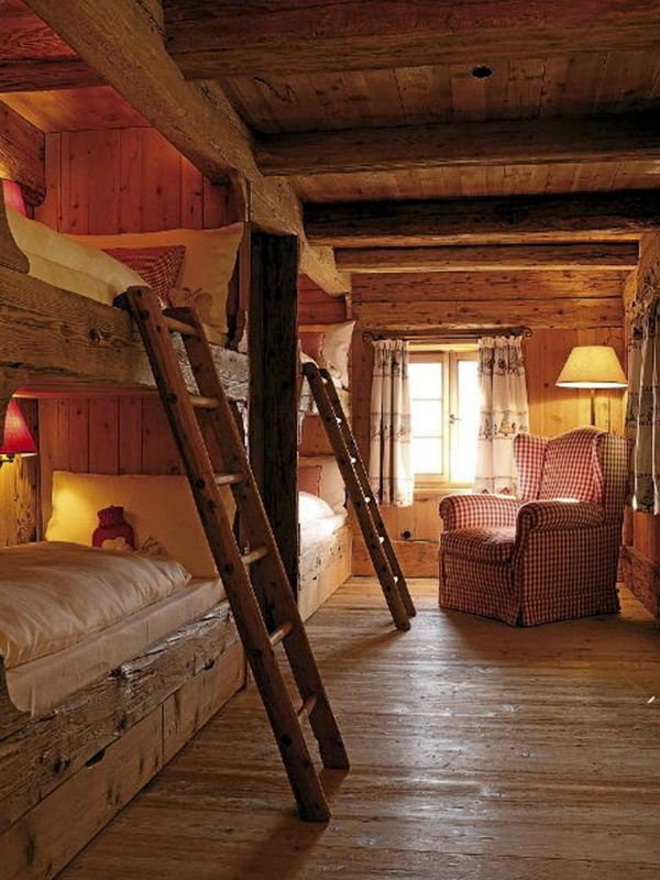 rustic style log cabin bunks
