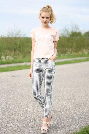 white Primark pants - peach cropped croptop Primark top - nude Primark heels