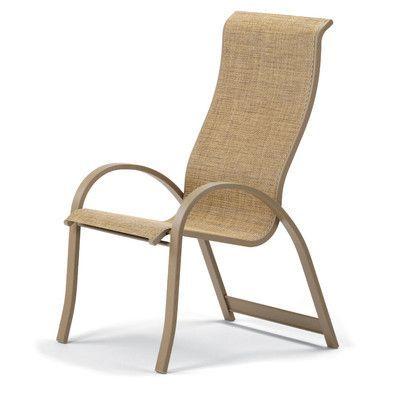 Telescope Casual Aruba Ii Stacking Patio Dining Chair (Set of 4) Finish: Textured Black, Fabric: Bark