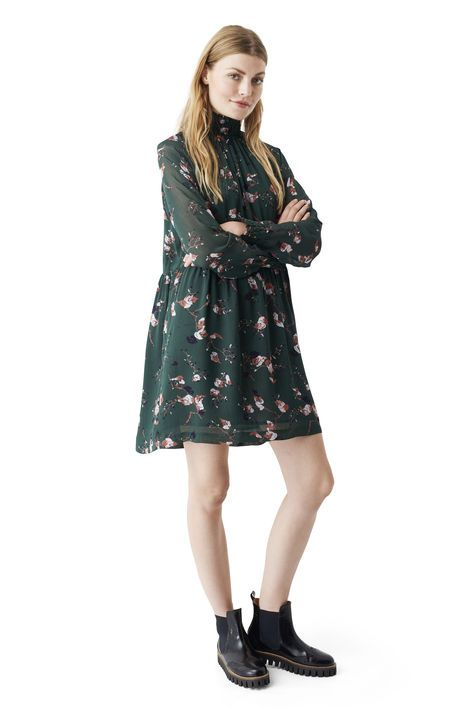 Marietta Georgette Dress, Pine Grove Leaves