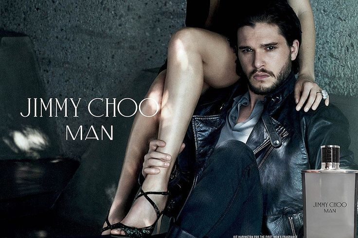Kit Harington For Jimmy Choo  Kit Harington is our primary reason for watching Game of Thrones, so we definitely lusted after him and his smoldering stare in Jimmy Choo Man's new ads. Are you as jealous of that model on his shoulder as we are?