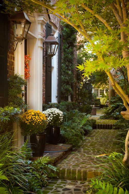 hueandeyephotography:  Autumn Courtyard with Mums, Charleston, SC © Doug Hickok  All Rights Reserved