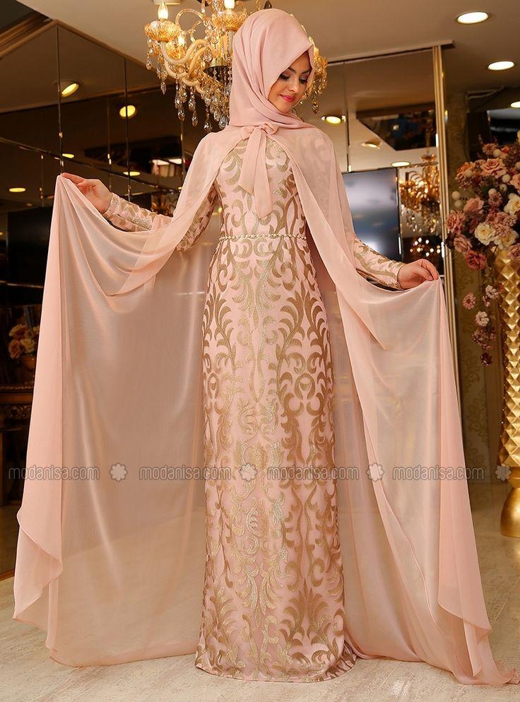 Eylul Evening Dress - Powder - Pinar Sems