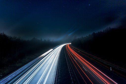 Autoroute, Feux, Nuit, Route