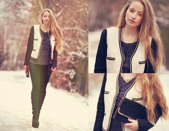 Mango Tweed Blazer, Bijou Brigitte Necklace, Esprit Black Clutch, Ann Christine Printed Shirt, Zara Pants, H Shoes