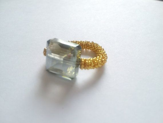 Audrey  Crystal Glass Ring by CindyFaye on Etsy, $18.00
