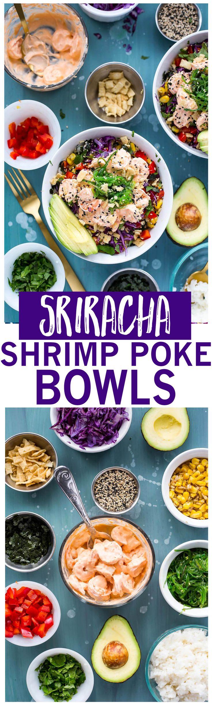 Creamy Sriracha Shrimp Poke Bowls are a delicious twist on traditional tuna poke with seaweed salad, lemongrass corn, avocado and wonton strips!