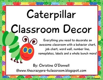 Here is everything you need to decorate a fun and colorful classroom with the Very Hungry Caterpillar. With over 170 pages and many editable features this set has endless possibilities. Included in this set are the following classroom organization tools and decorations:Job Clip ChartBehavior Clip Chart (with daily recording sheet)Weather ChartCalendar numbers and days of the weekMonths of the yearSchedule CardsCaterpillar ABC word wall headerNumber line to 100Bulletin Board Pieces and…