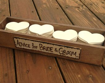 Rustic Wedding Advice Box for 50 Guests - Rustic Guestbook - Guest Notes Box - Advice for the Bride and Groom