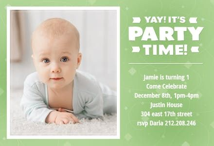 Free 1st Birthday Invitation Templates | Greetings Island - First Birthday Invitation Template. Customize, add text and photos. Print, download, send online or order printed! #firstbirthdayinvitation #1stbirthdayinvitation #freefirstbirthdayinvitation #1stbirthdaytemplate #invitations #printable #diy #template #birthday #firstbirthday #1stbirthday #party