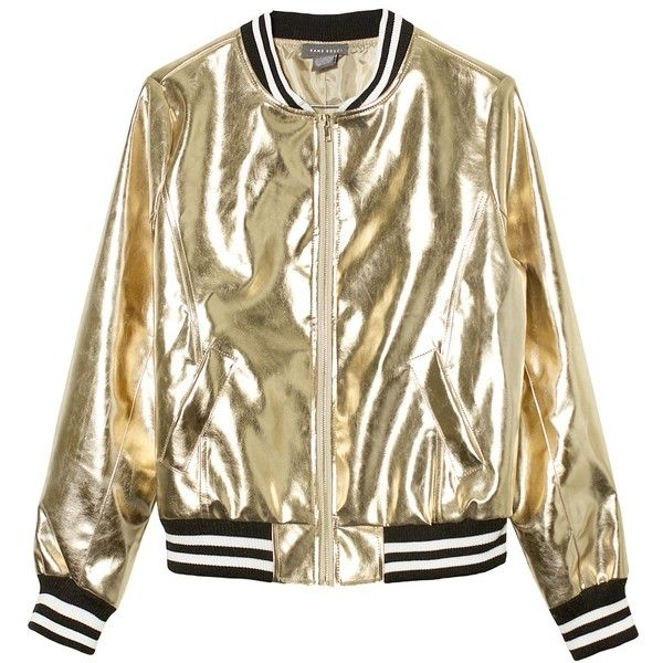 Sans Souci Gold metallic vegan leather bomber jacket ($59) ❤ liked on Polyvore featuring outerwear, jackets, gold, bomber jacket, faux leather jacket, zip jacket, zip bomber jacket and fleece-lined jackets