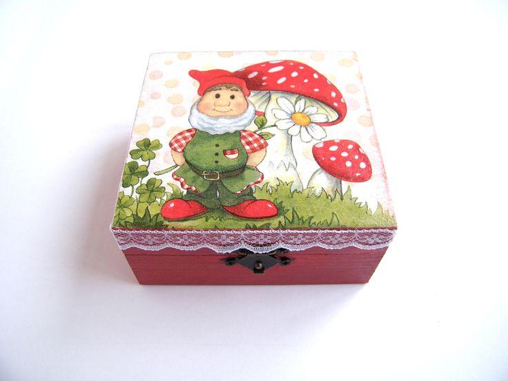 Wooden Kids Box, Red Jewelry Box, gift for girl, Handmade, Art Decoration, girls keepsake box, square box, storage box, tooth fairy box by KristanArt on Etsy