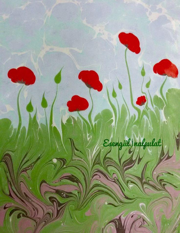 Gelincikler ebru sanatı Marbling art Artist Esengül İnalpulat  www.artmajeur.com/kirmizi www.facebook.com/ebruisligi