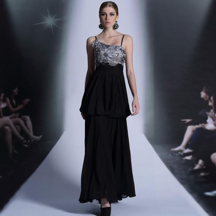 Long Black Evening Gown Formal Party Prom Chiffon Mesh Pleated Dress 30871