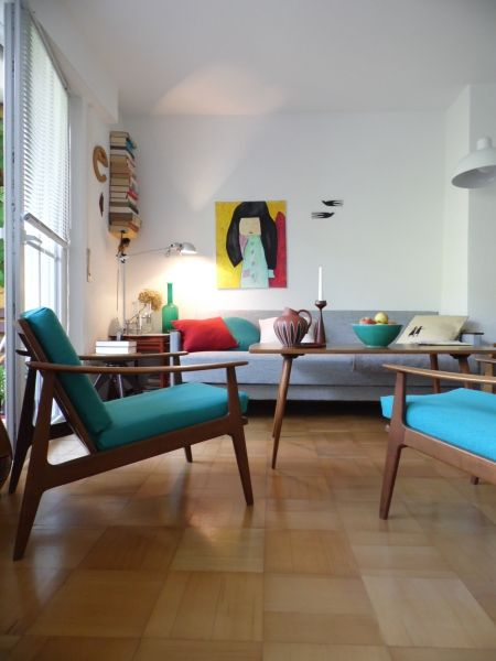Mid-Century Modern - scandinavian - teak. Love the room and furnishings. Would get rid of that painting.