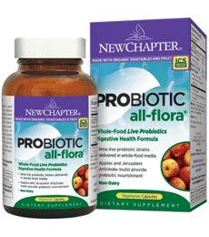 Probiotic All-Flora (Whole-Food Live Probiotics by New Chapter). Whole-Food Live Probiotics Digestive Health Formula. Nine live probiotic strains delivered in whole-food media. Apples and Jerusalem Artichoke Inulin provide prebiotic nourishment. Non-dairy, certified organic. Available at ProHealth.com ($30.49) #ProHealth