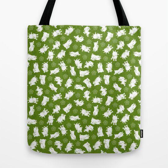 Ditsy Goat Green Tote Bag