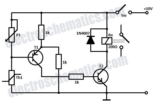 temperature relay circuit schematic