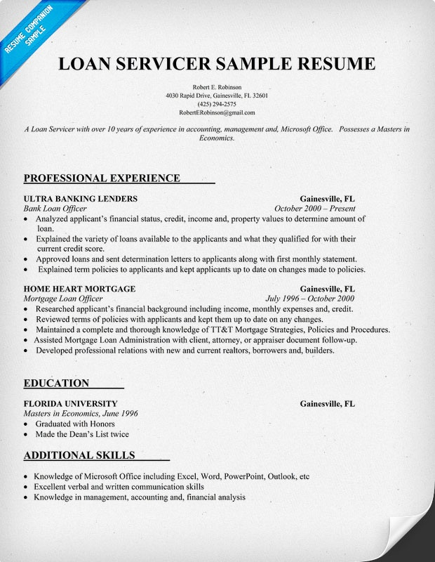 loan servicer resume sample