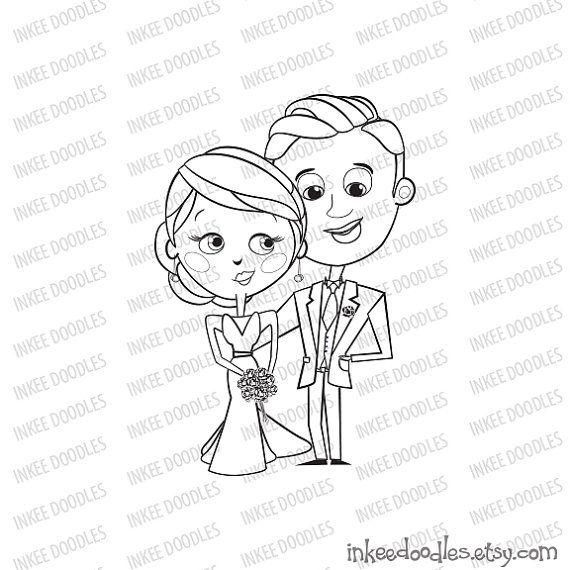 Bridal Wedding Party Stamps Bride Groom Scrapbooking Supplies Clipart by InkeeDoodles, part of a 16 piece set $6.00, #Bridal #Wedding #Party #Stamps #Bride #Groom #Scrapbooking #Supplies #Clipart