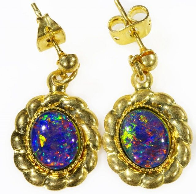 Beautiful Triplet Opal Earrings gold plated  Set  CF 1013