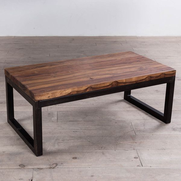 Cordova 4-foot long reclaimed wood coffee table with a black steel frame.