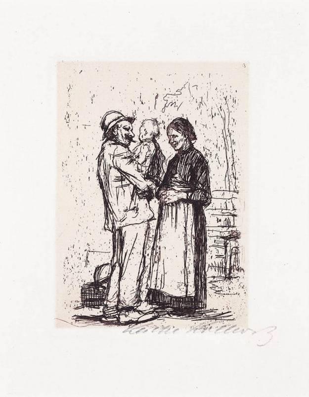 Begrüssung (embrassade), 1892, eau-forte, 11 x 8 cm
