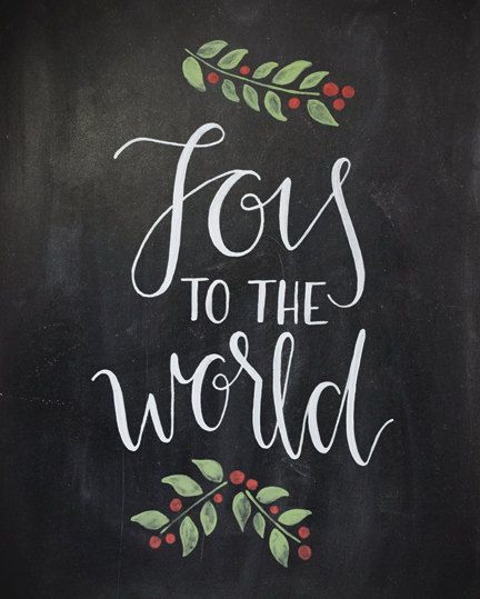 Joy to the world chalkboard christmas print handlettered