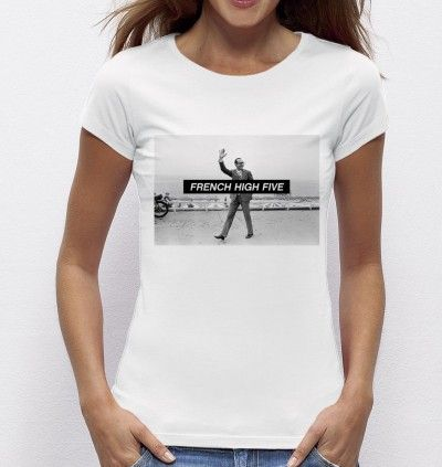 #Tshirt #french #highfive - Exclu #Madametshirt - Dispo ici : http://www.madametshirt.com/fr/tshirts/1605-top-blanc-french-high-five.html #tee-shirt #chirac