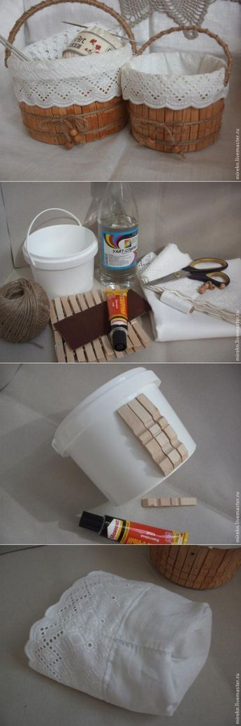 Turn a plastic bucket into a wooden basket with some old pegs