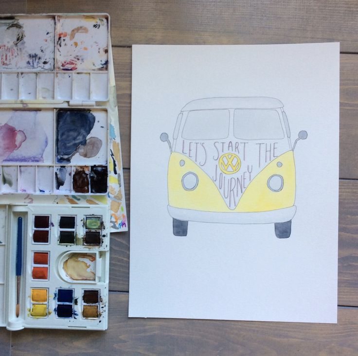 VW Vintage Van, Watercolour art. Stay tuned for NEW prints available in our SpeakGlitterstore this summer!