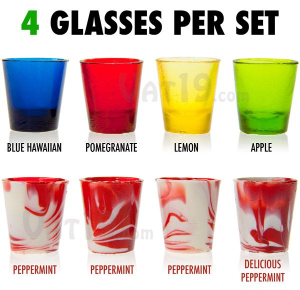 Hard Candy Shot Glasses come in a variety of 4-packs.  If you love candy and alcohol!! Then these are for you!!