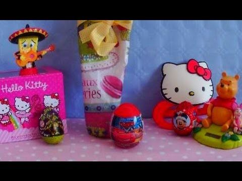 Surprise eggs Hello kitty kinder surprise cars ninja turtles Mickey Mous...