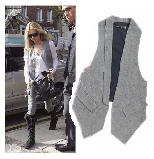 New Woman Casual Weekend Grey Long Waistcoat Suit Vest