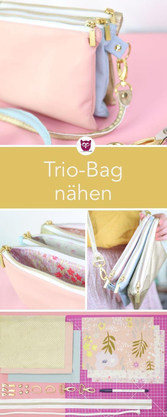 Trio-Bag nähen: Handtasche aus drei zusammengenähten Fächern aus Kunstleder m