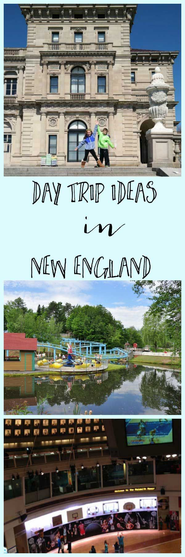 A collection of day trip ideas in New England, including spots in Boston, Portland, Maine, North Conway, New Hampshire, and Newport, RI.
