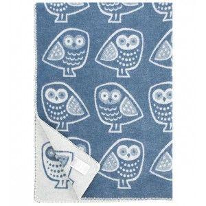 Lapuan Kankurit Pöllö Blue Finnish Wool Blanket