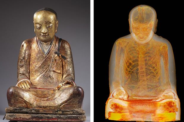 The Buddha alongside an image from an earlier CT scan. (Credit: Drents Museum) human skeleton of a monk found inside of the statue