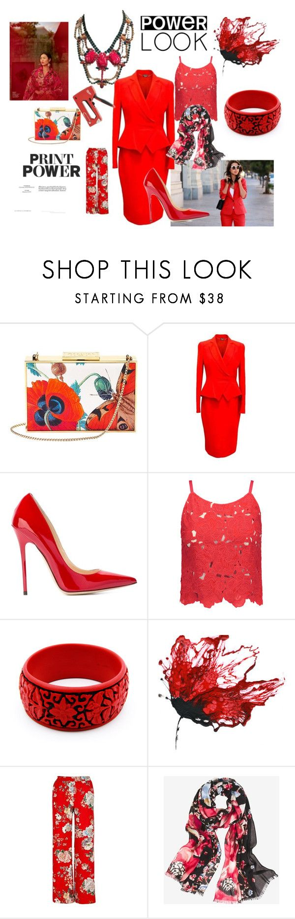 """power suit red"" by mimmiandkinkistatementjewelry ❤ liked on Polyvore featuring Aspinal of London, Alexander McQueen, Jimmy Choo, Alice + Olivia, River Island and White House Black Market"