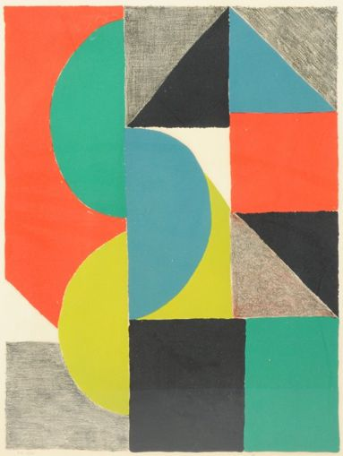 "By Sonia Delaunay (1885-1979), 1966, ""Venise,"" color etching and aquatint."