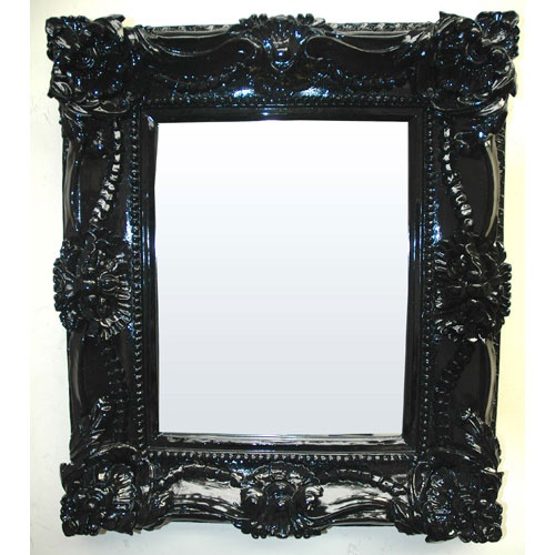 Contemporary Decorative Rectangle Framed Mirror In Glossy Black Imagination Mirrors Rectan